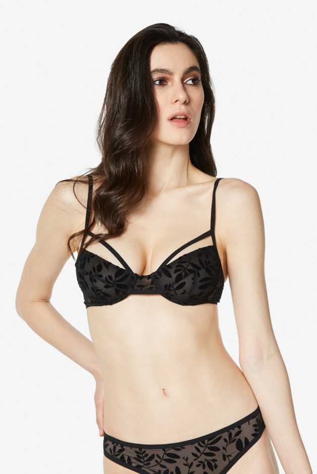 Flocked tulle bra with underwired Janette